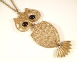 Large Vintage Sarah Coventry Goldtone Owl Necklace