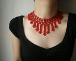 Galactic Filaments --- Lobster Red / Cardinal Red ... Beaded Crochet Necklace - Flowers