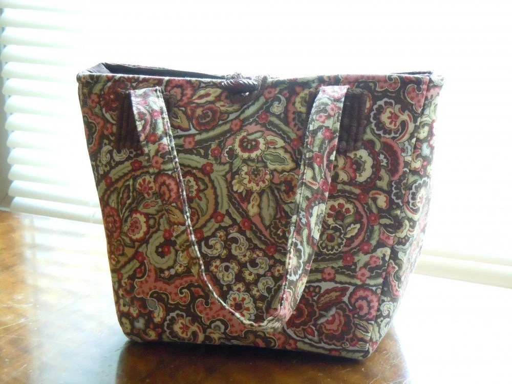Handmad bag in pink and brown paisley