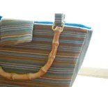 Handmade bag with tan and teal stripes