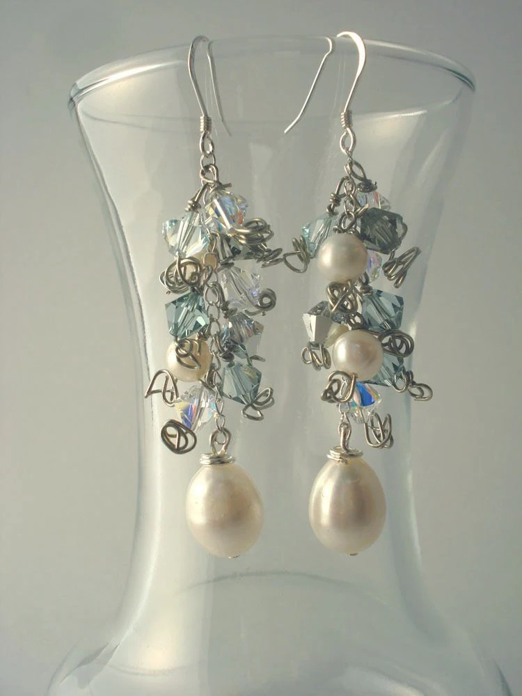 Freshwater Pearl and Swarovski Crystal Cluster on Sterling Silver