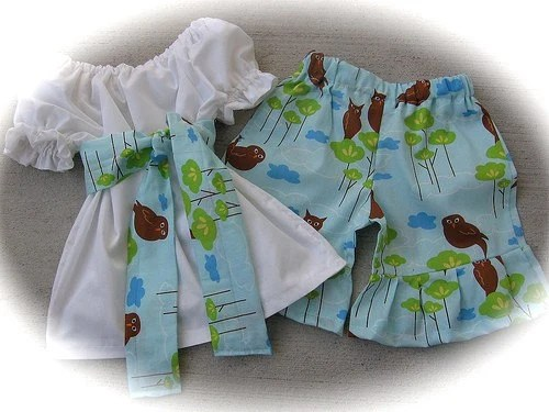 Custom Boutique Baby Blue Owl Short Peasant Set 12 18 24 2 3 4 5