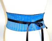 ANY SIZE SIlver Striped Bright Blue Mini Obi Corset Belt B