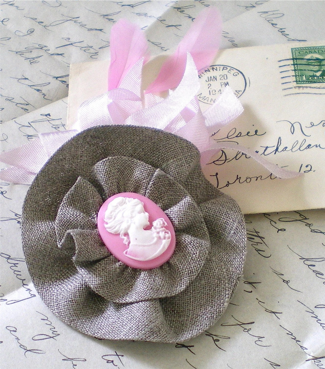 Cameo in Linen and Pink...Ruffled Cameo Hair Clip