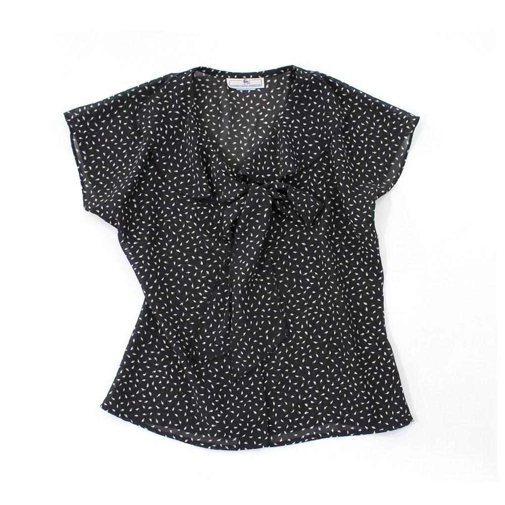 vintage 90's MINI PETAL sheer bow blouse