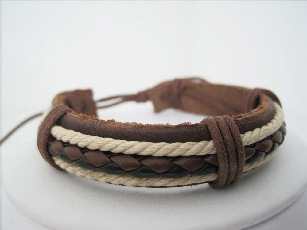 Ivory and Chocolate Brown Leather Cuff