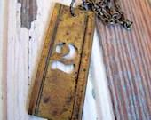 Vintage brass stencil number necklace - 2