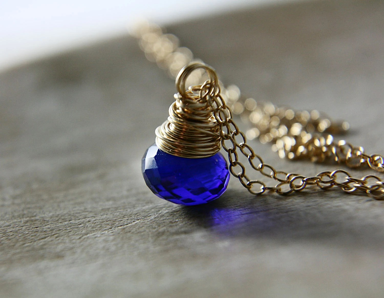 1.21 Gigawatts Necklace - Cobalt-Electric Blue Quartz on 14K Gold Fill