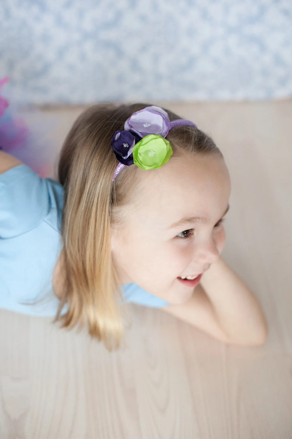 Glittery Purple Headband with a Handmade Flower Boquet