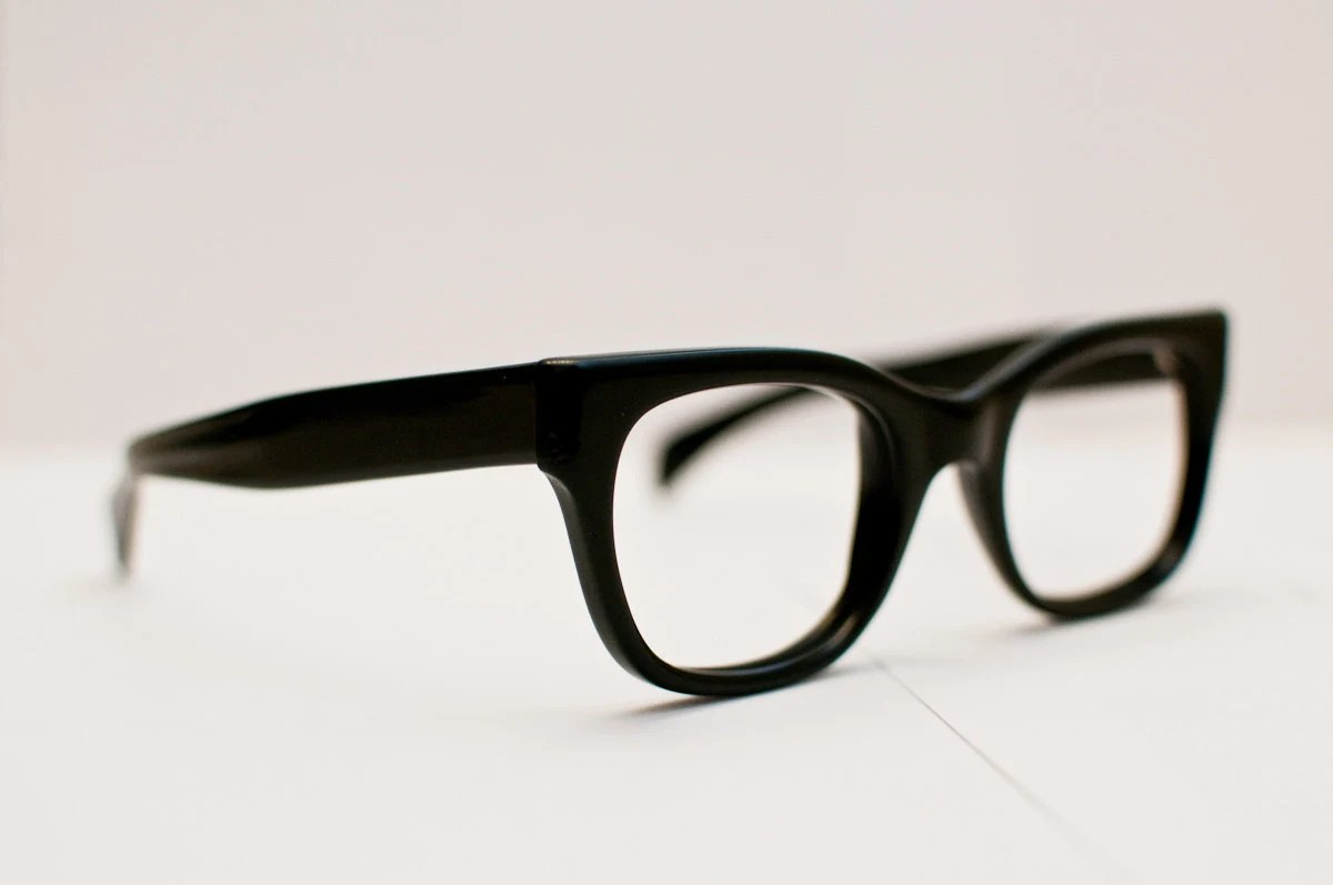 Vintage Victory Black Hornrimmed Glasses: Big, Black, and Classic