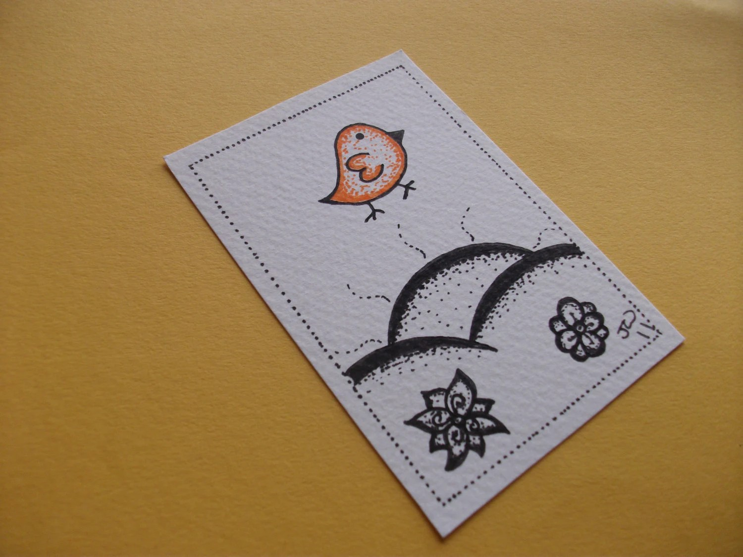 Orange Dotty Bird, Original Ink Drawing ACEO