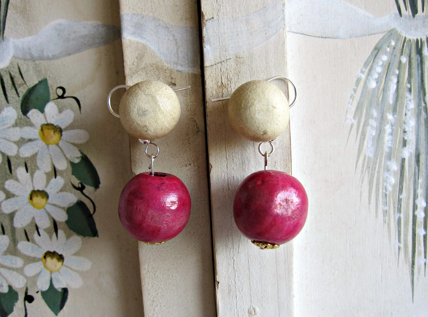 Fuchsia Pink Wooden Bead Dangle Earring