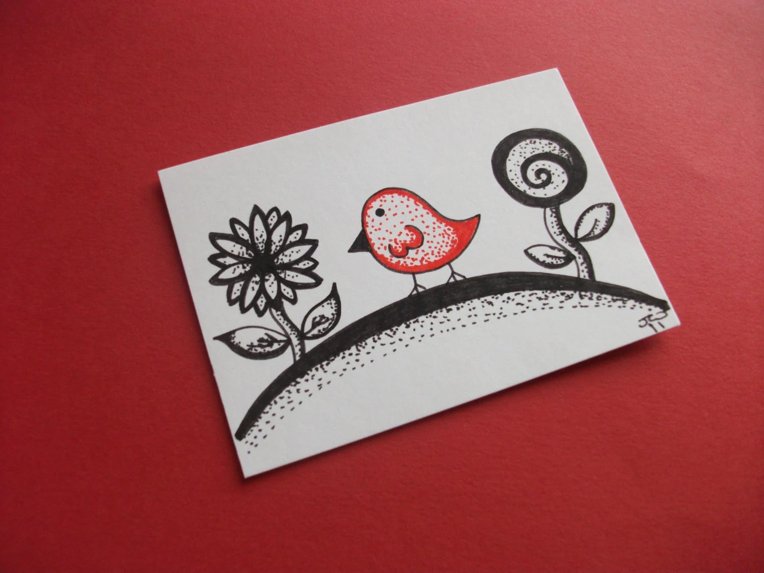 Red Dotty Bird, Original Ink Drawing ACEO