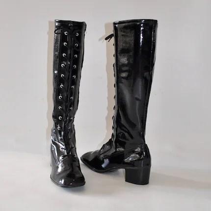 size 8 Vintage 60s Black MYSTERIOUS Patent GoGo Boots . Corset shaft