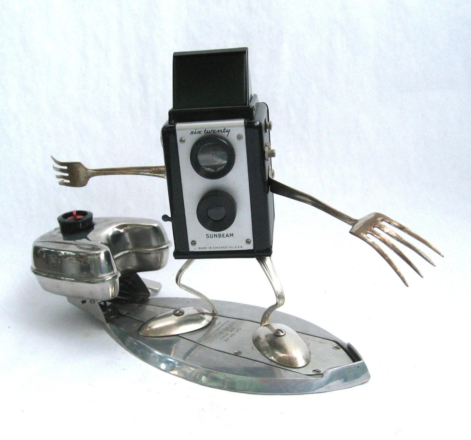 Sunny - Found Object Robot Assemblage Surfing Sculpture by Brian Marshall