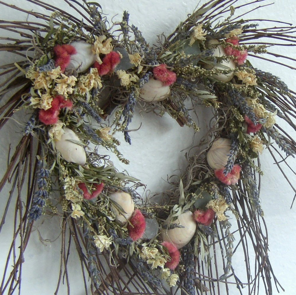 Heart Twig Wreath with Dried Flowers and Sea Shells
