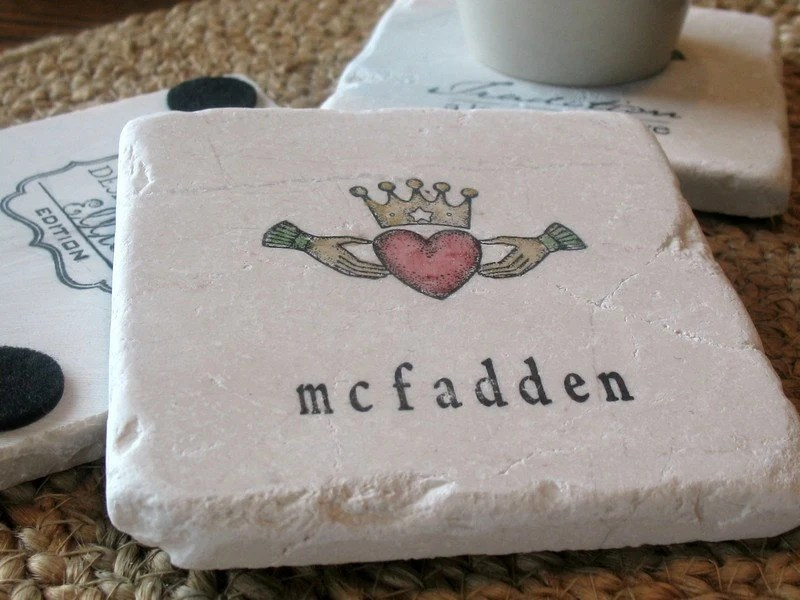 Personalized Irish Claddagh Absorbent Tile Coasters, Set of 4