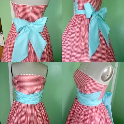 Red Gingham Bow Picnic Sash Dress by CoralieBeatrix