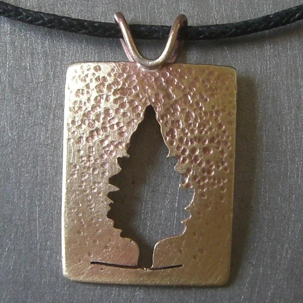 Raining Brassy Cedar Tree Pendant by Beth Millner