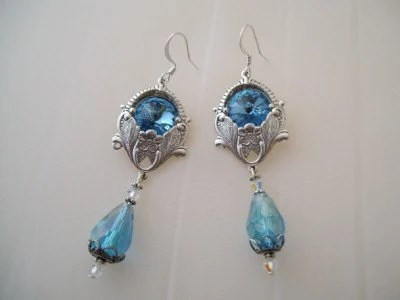 Victorian Vintage Style Silver  Aqua Blue filagree Opulant Chandelier Faceted Rivoli Crystal long Sparkling  Earrings