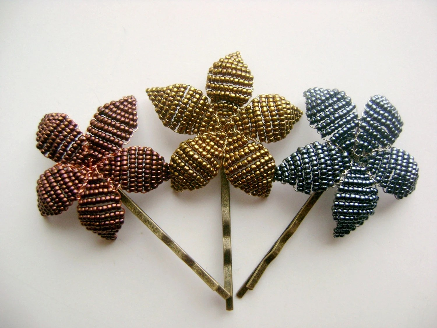 Flower Trio - Beaded Flower Bobby Pins - Ododo Originals