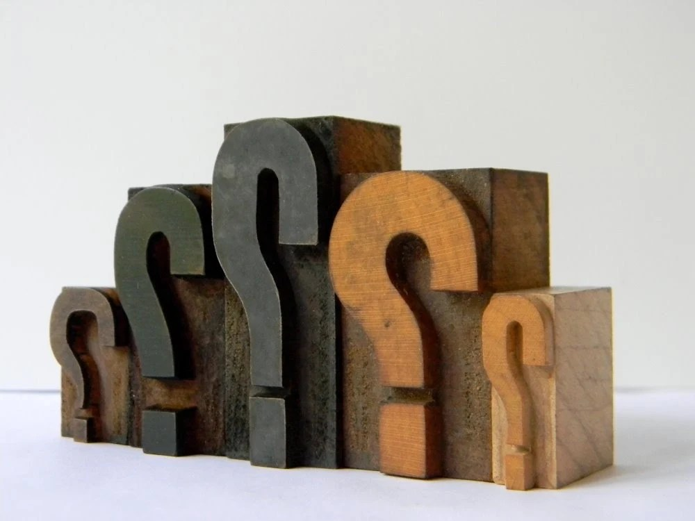 Vintage Wood Type 5 block set Question Marks