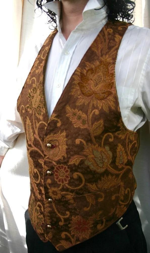 Golden Brown Floral Tapestry Vest