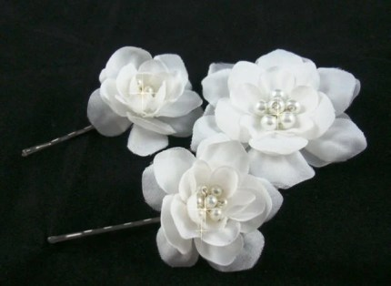 set of 3 small white bridal flowers with swarovski pearls inside hair pin b clip by