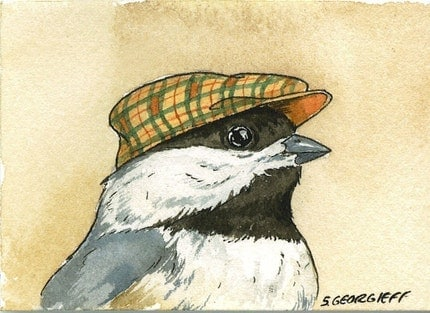 Little Chickadee with hat- print 5x7