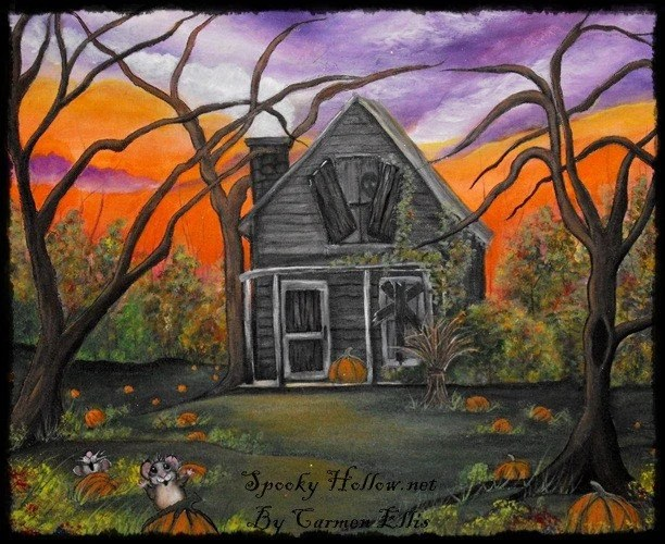 OOAK Halloween Folk Art Painting Haunted Pumpkin Farm big 16 by 20 by Carmen Ellis