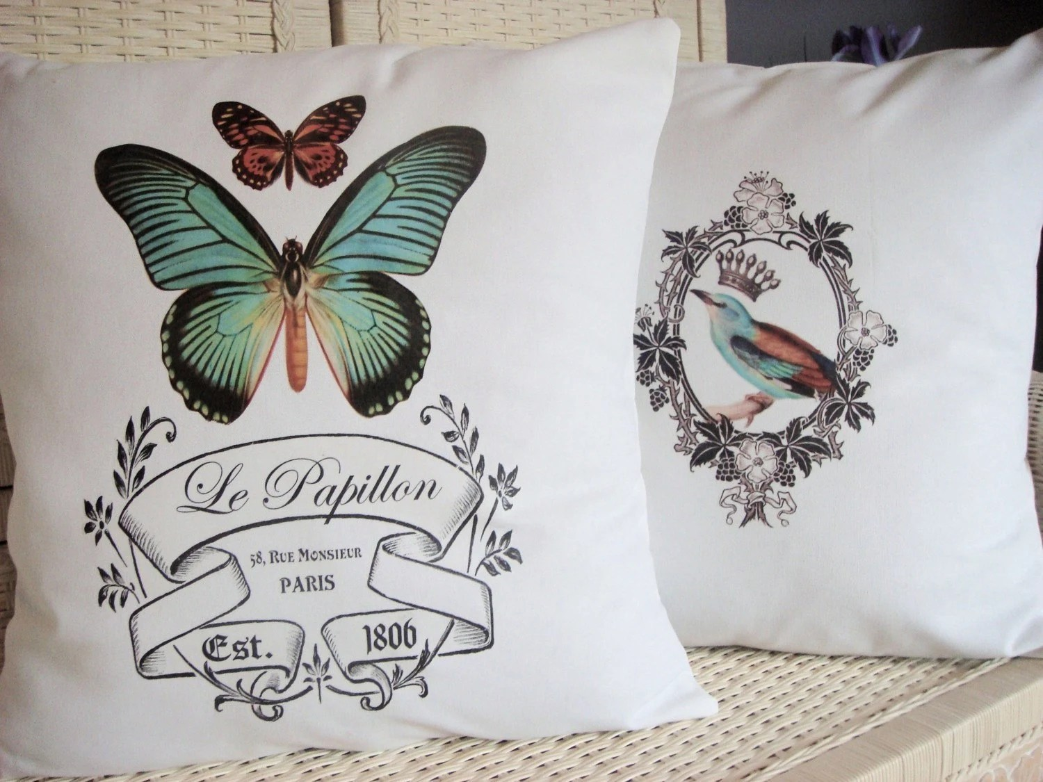 Set of 2 French Le Papillon and Vintage Bird Pillow Covers on White Cotton