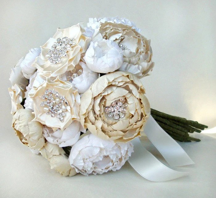 Ivory, Off White and Cream Silk Catala and Jeweled Bloom Bridal Bouquet