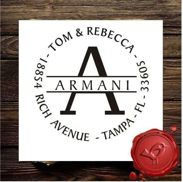 Wood handle Personalized monogram address custom text rubber stamp HOSTESS GIFT - STYLE 1153