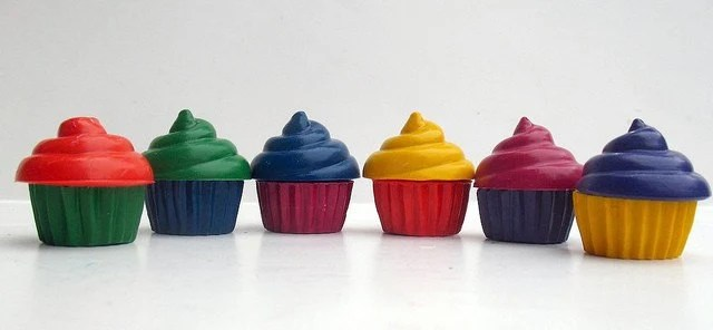 Recycled Crayon Cupcakes  - Set of 6
