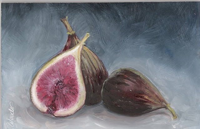 TWO and ONE HALF FIGS Small Practice Painting by Lindy 6x9