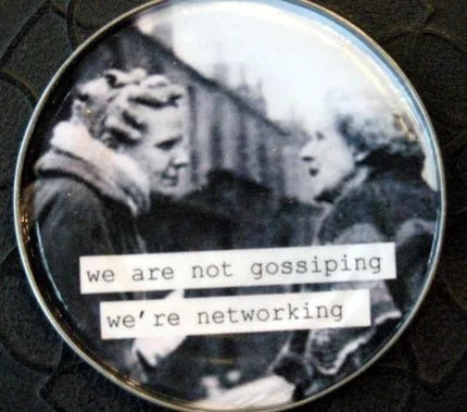 Not Gossiping, Networking. Vintage Image Magnet. Recycled Tin Can Lid