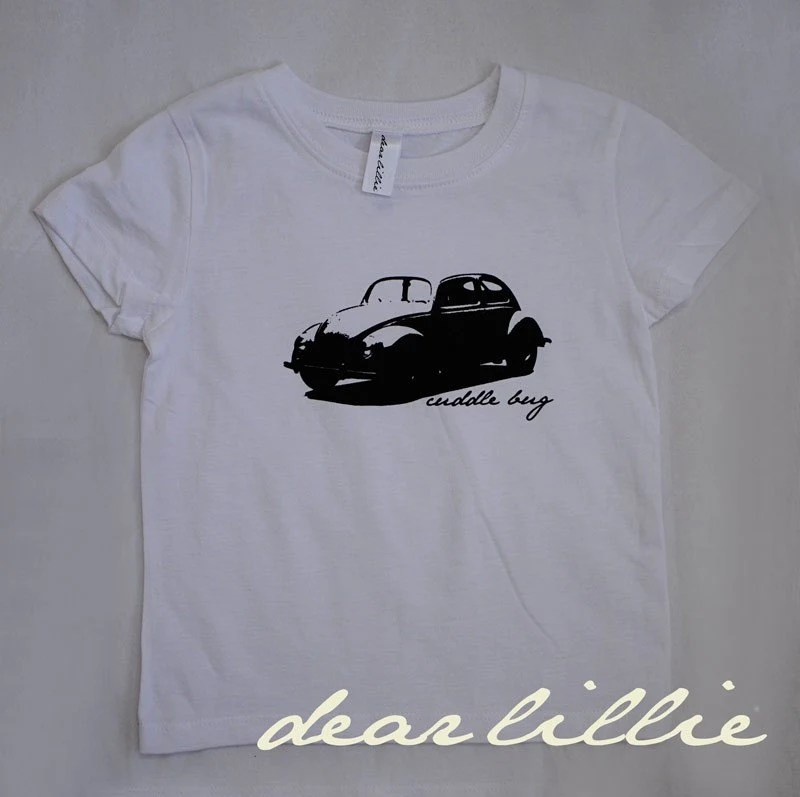 OUR BEST SELLING Cuddle Bug Design now available in Long Sleeve and Short Sleeve Toddler Tshirts ---  Black Screenprinted VW Image on a White Tee - K