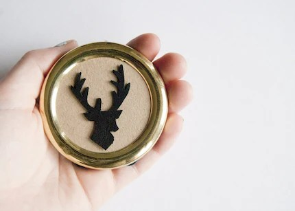 Mini leather stag silhouette in vintage frame