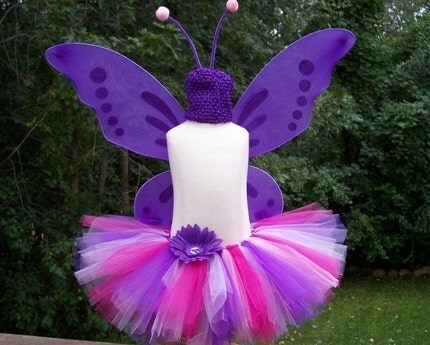 Purple and Pink BUTTERFLY or fairy Halloween Costume Tutu Set