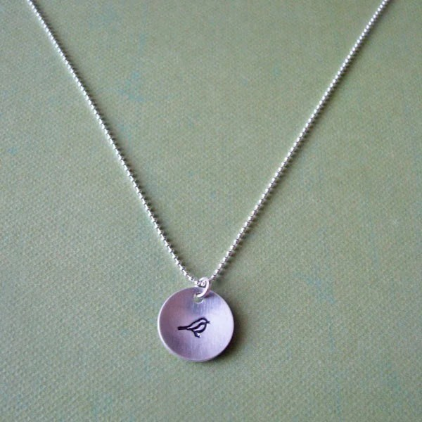 hand stamped silver bird necklace