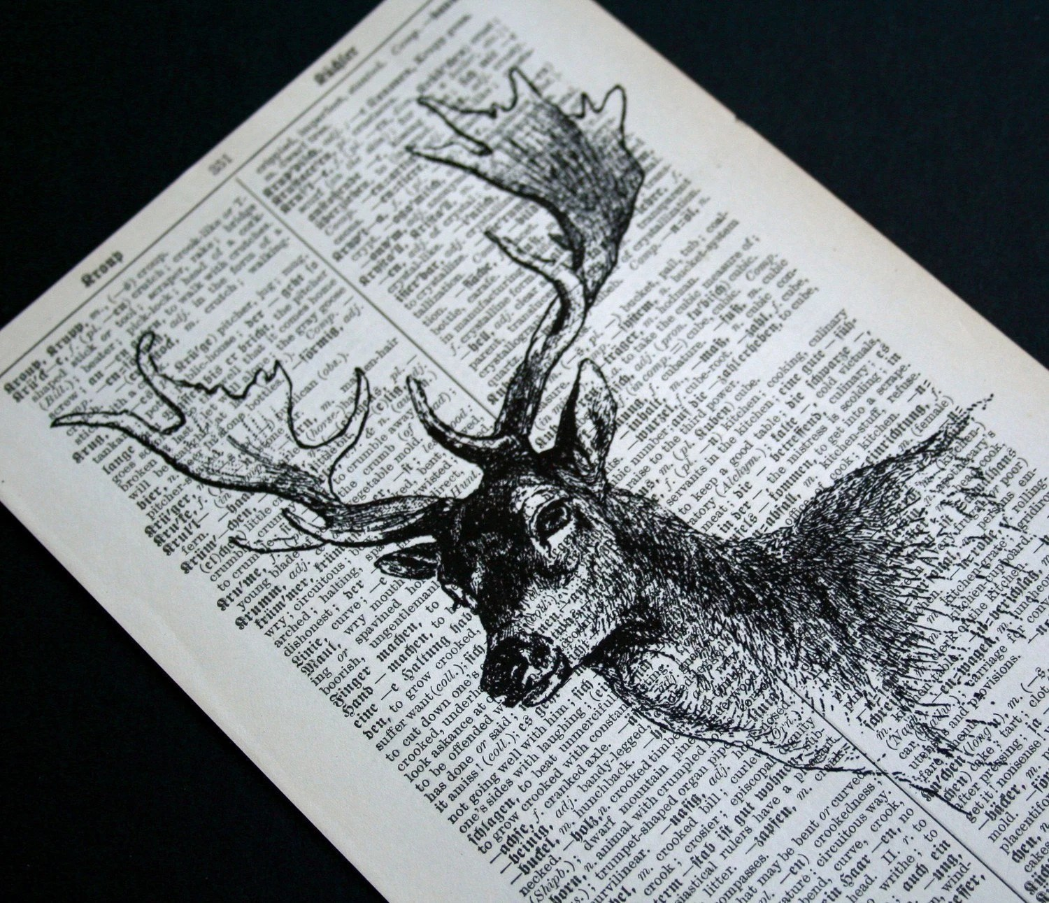 Deer Head Print on Vintage German Dictionary - 5 x 7