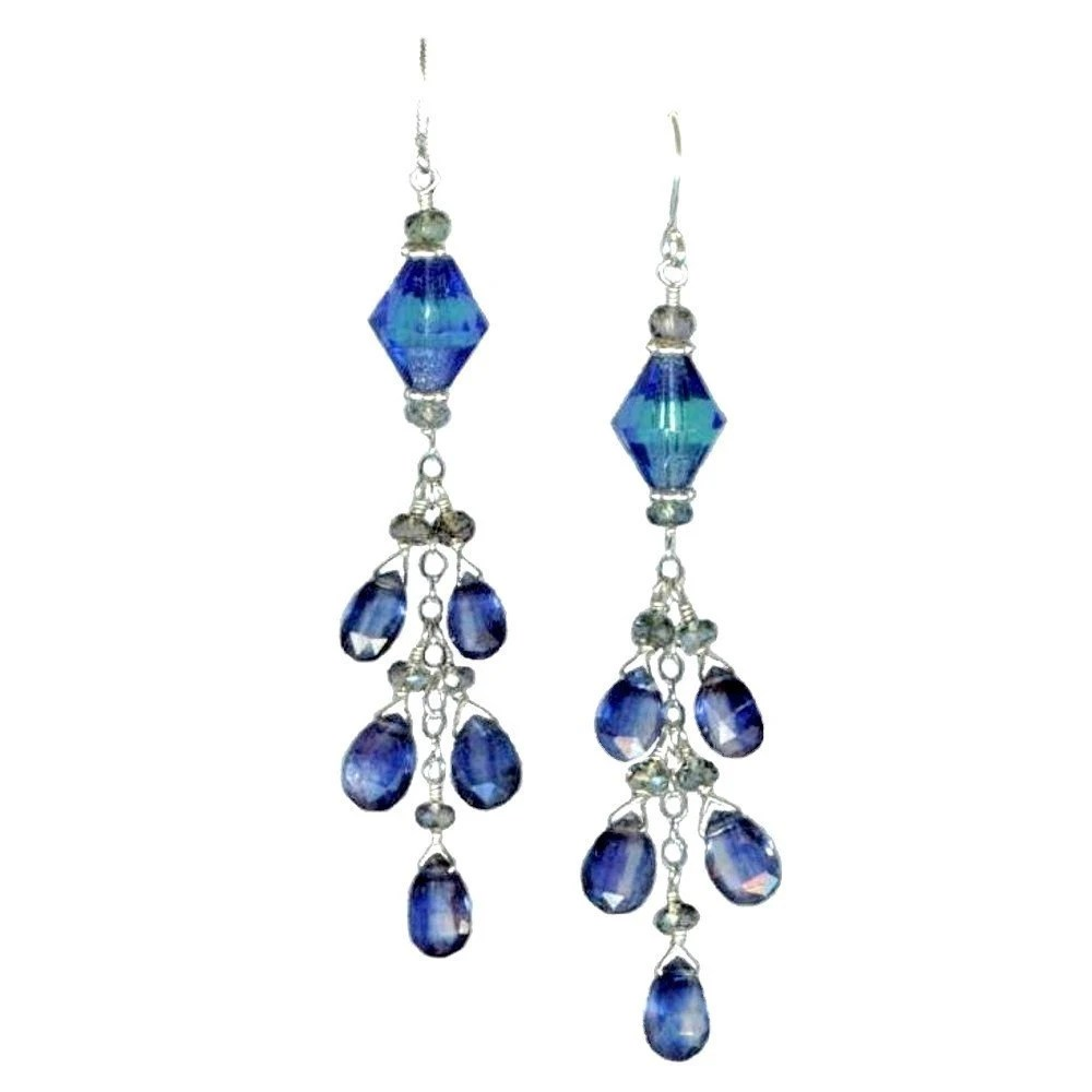 Glamorosi - Kyanite Earrings with Sapphire, Vintage Glass, Sterling Silver - Something Blue