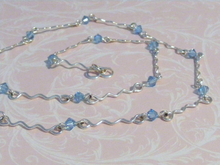 Aquamarine Swarovski and silver necklace--SALE
