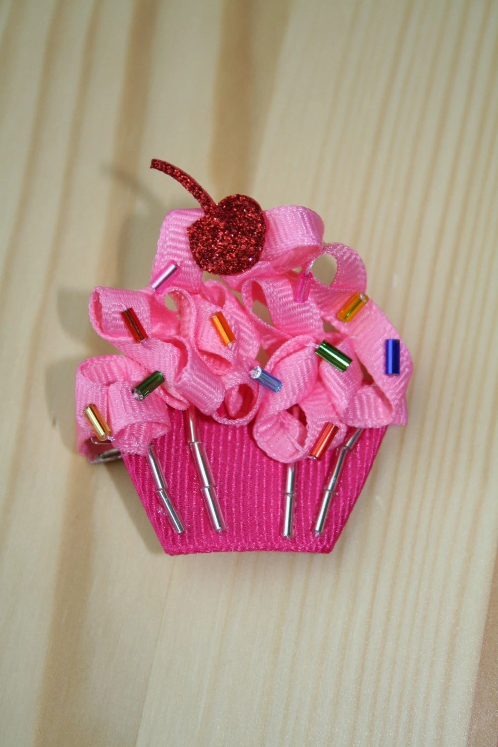Never Enough Pink Cupcake Boutique Hair Bow -Non Slip Grip- FREE SHIPPING
