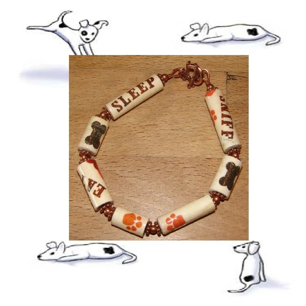 Dog Bracelet - Eat, Sleep, Sniff - paper beads - EBTW - Bountiful Bracelets - Reg 13 by RunsWithScissors4