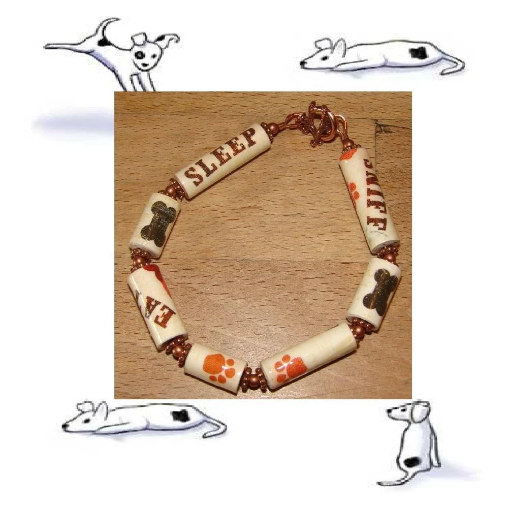 Dog Bracelet - Eat, Sleep, Sniff - paper beads - EBTW - Bountiful Bracelets - Reg 13 by RunsWithScissors4