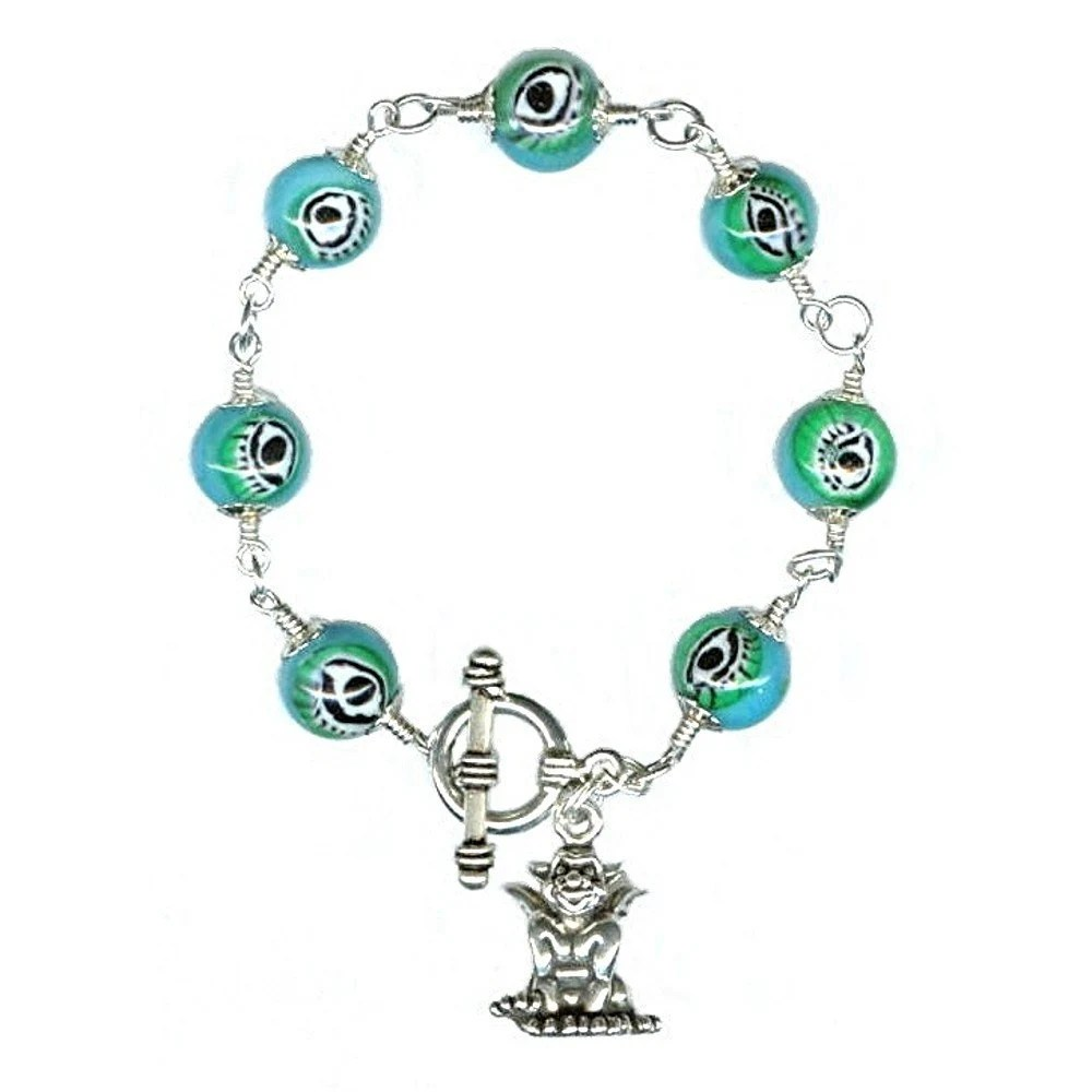 Evil Eye Bracelet with Gargoyle Charm - Glass and Sterling Silver - EBTW by Glamorosi