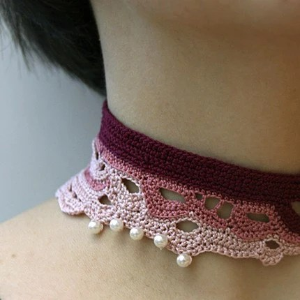Purple pink freeform crochet choker