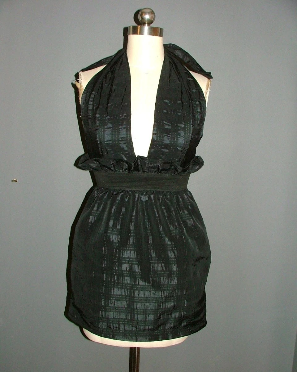 BLACK FRIDAY SALE 1 DAY BABOOSHKA HOLIDAY Monochromatic Black on Black Plaid Paperbag High Waisted Party Dress w/ Pockets