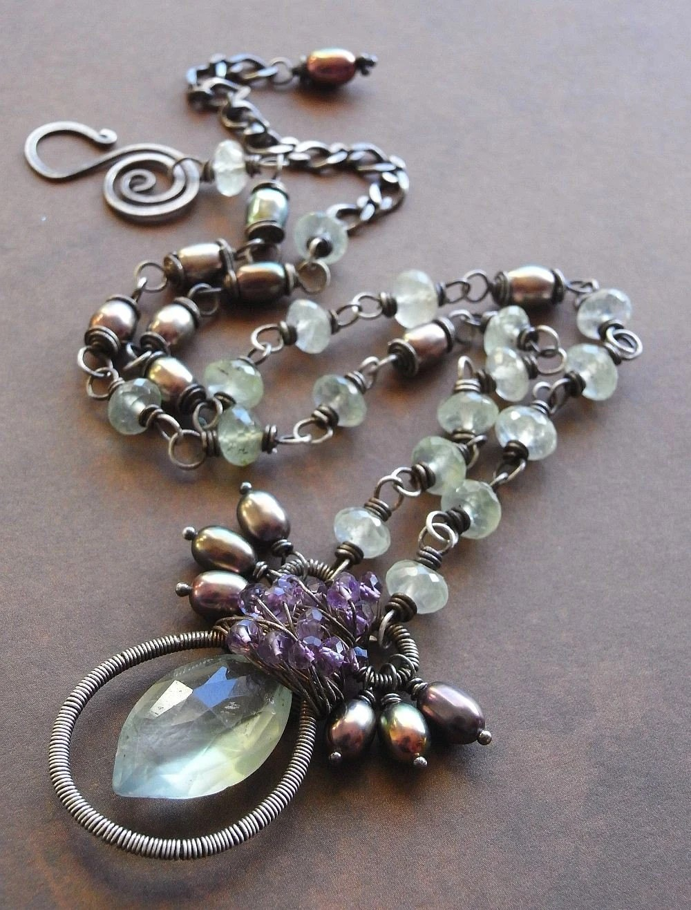 Hunter Gatherer - prehnite, amethyst, freshwater pearl and sterling silver necklace